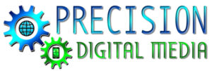 precision digital media logo with gears